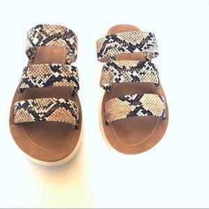 Wild diva snake skin print 3 strap sandals
